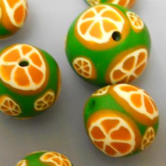 полимерная глина уроки для начинающих, полимерная глина для начинающих, апельсинчики из полимерной глины, апельсиновая трость, бусы из полимерной глины, мильфиори