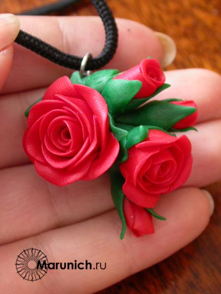 полимерная глина мастер-класс , розы из пластики урок, урок потполимерная глина для начинающих, елена марунич